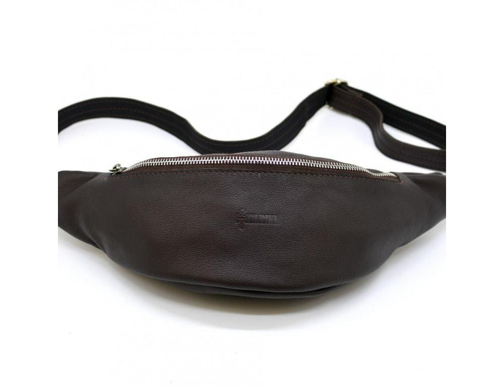 Коричневая кожаная сумка на пояс TARWA fc-3005-4lx - Фото № 3