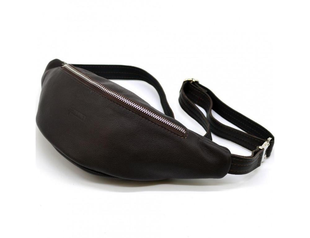 Коричневая кожаная сумка на пояс TARWA fc-3005-4lx - Фото № 4