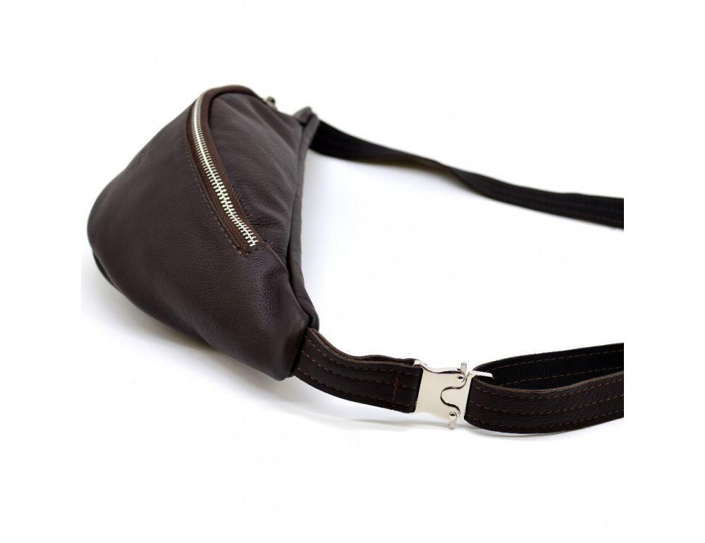 Коричневая кожаная сумка на пояс TARWA fc-3005-4lx - Фото № 6