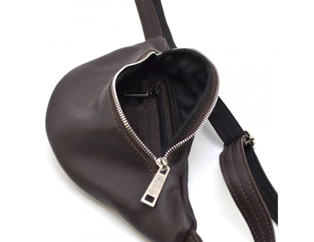 Коричневая кожаная сумка на пояс TARWA fc-3005-4lx - Фото № 7