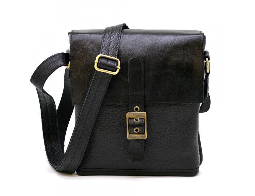 Чёрная кожаная сумка через плечо TARWA FGA-7157-3md - Фото № 3