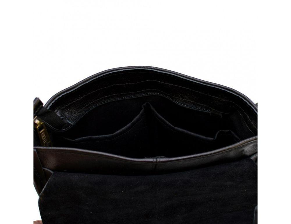 Чёрная кожаная сумка через плечо TARWA FGA-7157-3md - Фото № 8
