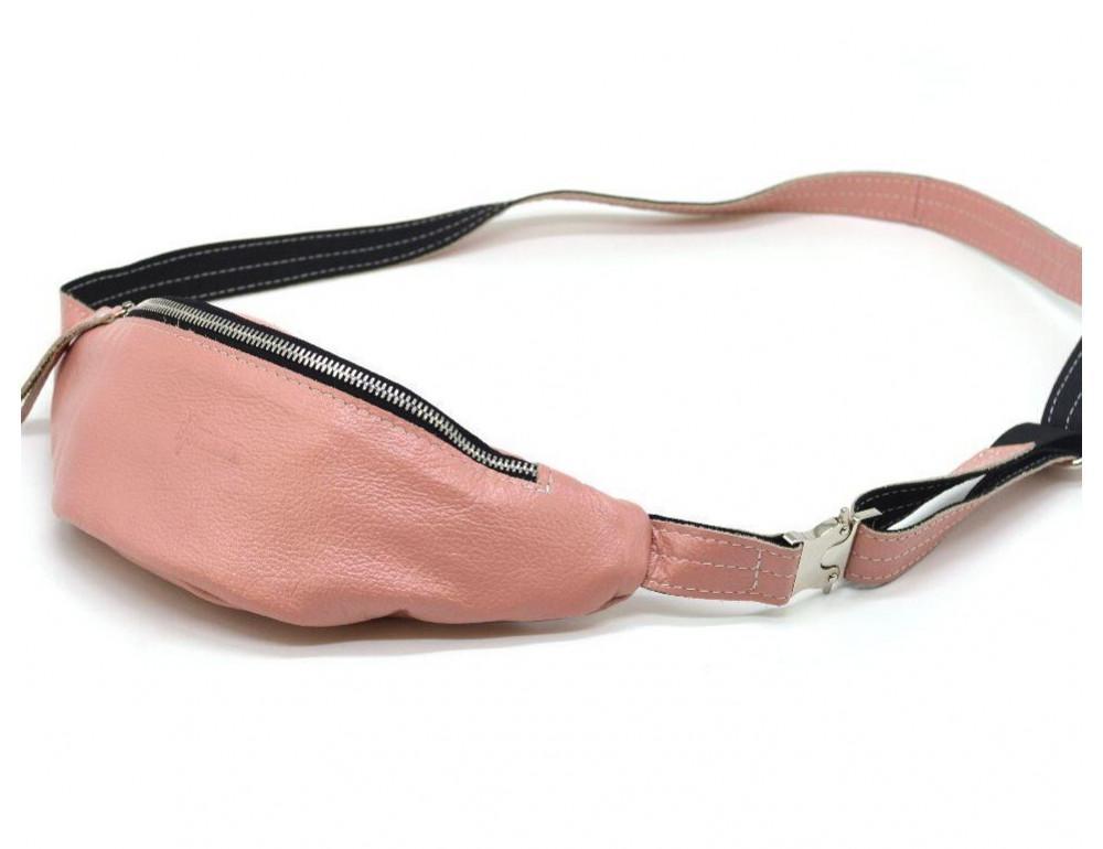 Розово перламутная кожаная сумка на пояс TARWA G2-3004-4lx - Фото № 1