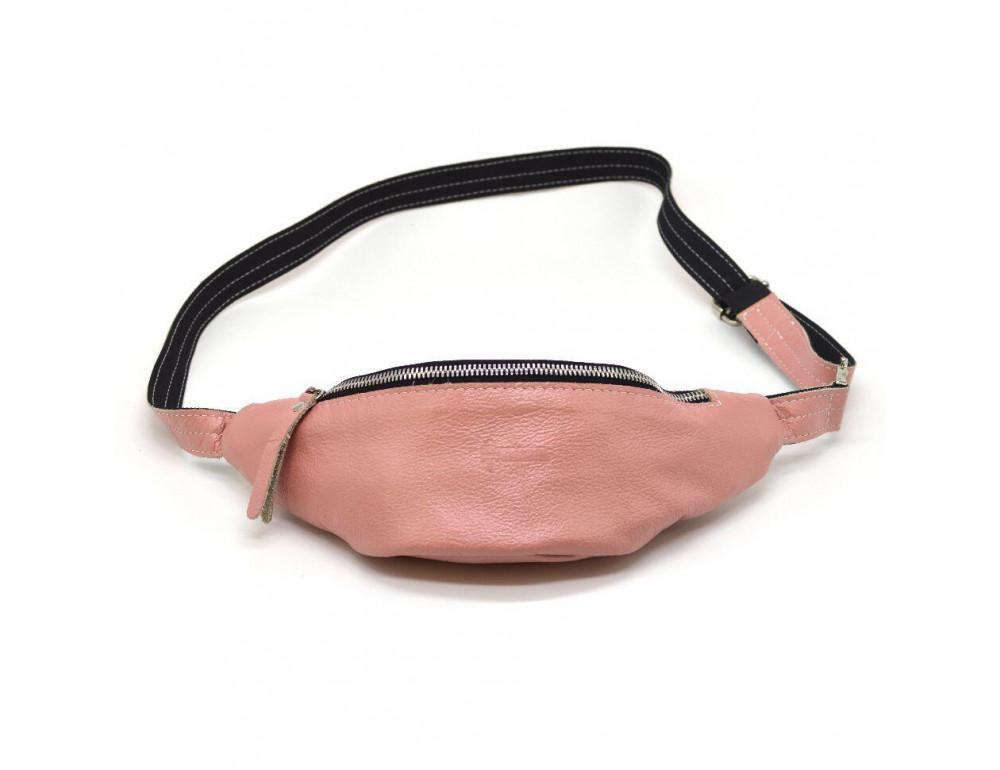 Розово перламутная кожаная сумка на пояс TARWA G2-3004-4lx - Фото № 4