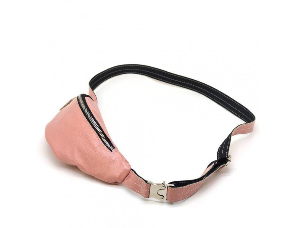 Розово перламутная кожаная сумка на пояс TARWA G2-3004-4lx - Фото № 5