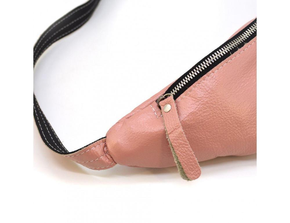 Розово перламутная кожаная сумка на пояс TARWA G2-3004-4lx - Фото № 7