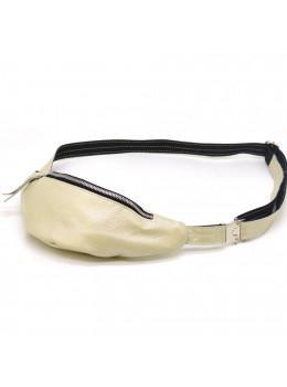 Серо-бежевая кожаная сумка на пояс TARWA G4-3004-4lx