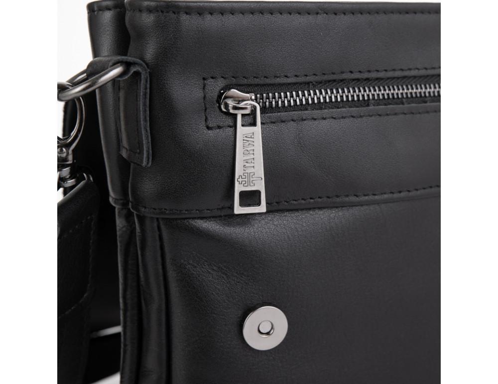 Чёрная кожаная мужская сумка на два отделения TARWA GA-0022-4lx - Фото № 5
