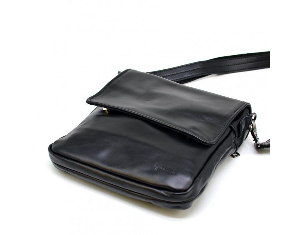 Чёрная кожаная мужская сумка на два отделения TARWA GA-0022-4lx - Фото № 10