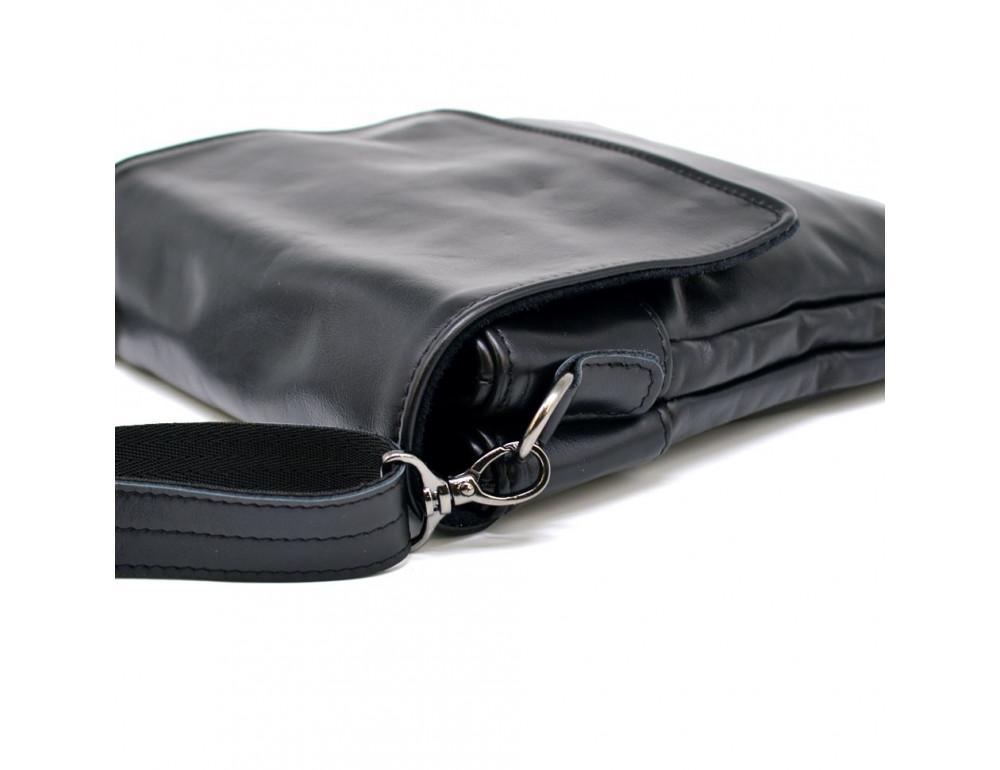 Чёрная кожаная мужская сумка на два отделения TARWA GA-0022-4lx - Фото № 11