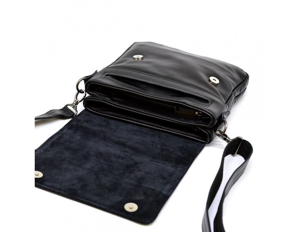 Чёрная кожаная мужская сумка на два отделения TARWA GA-0022-4lx - Фото № 12