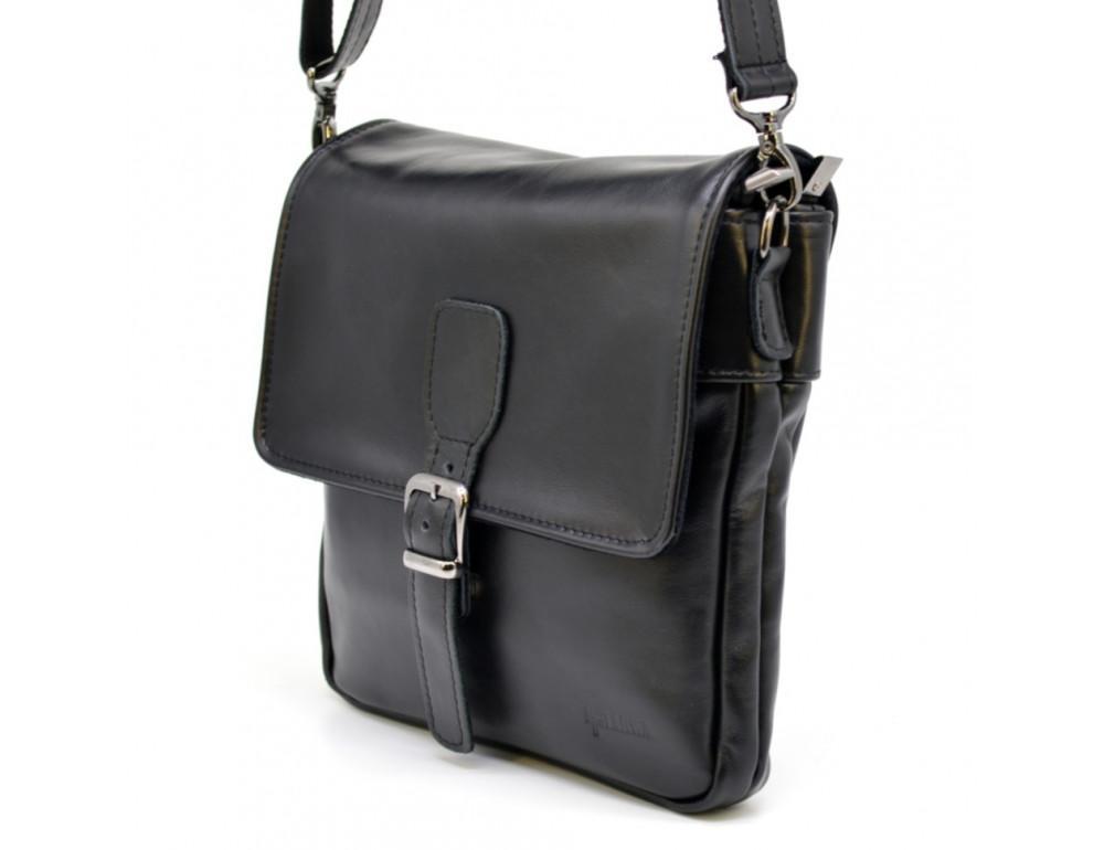 Чёрная кожаная сумка-мессенджер TARWA GA-0023-3md - Фото № 2