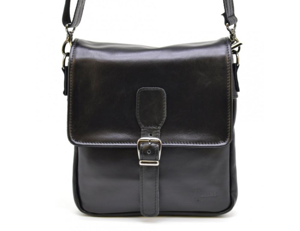 Чёрная кожаная сумка-мессенджер TARWA GA-0023-3md - Фото № 1