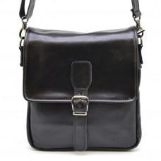 Чёрная кожаная сумка-мессенджер TARWA GA-0023-3md