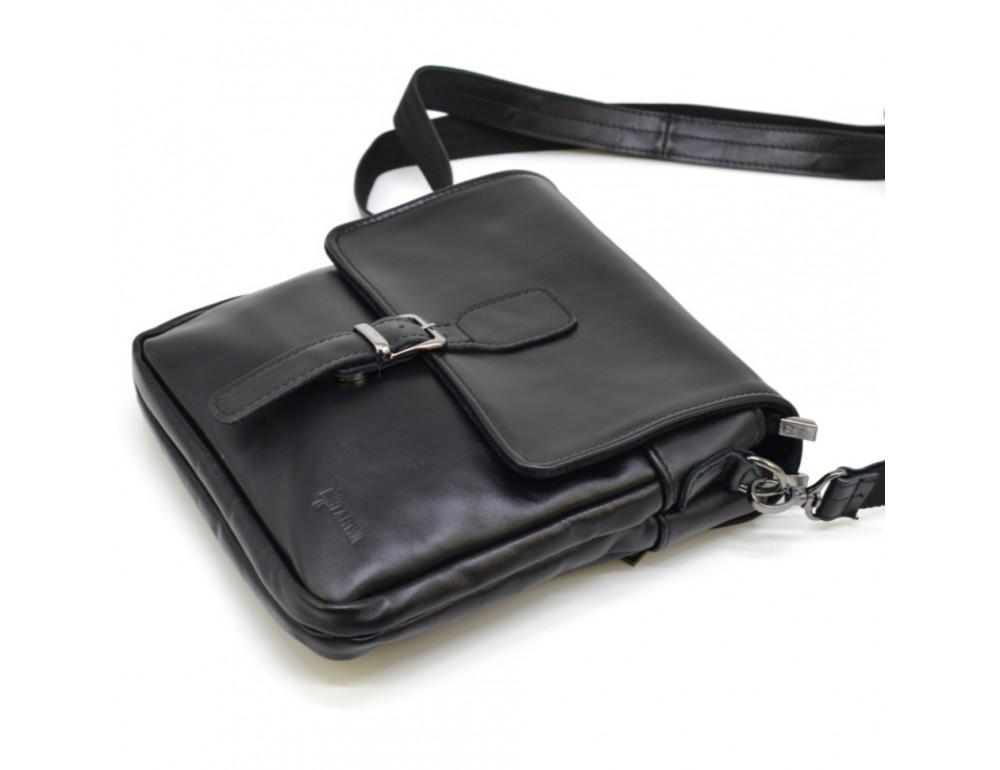 Чёрная кожаная сумка-мессенджер TARWA GA-0023-3md - Фото № 5
