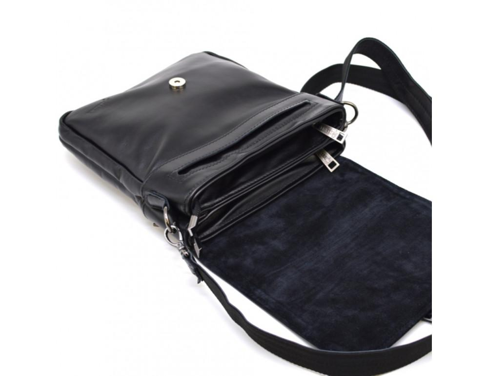 Чёрная кожаная сумка-мессенджер TARWA GA-0023-3md - Фото № 6