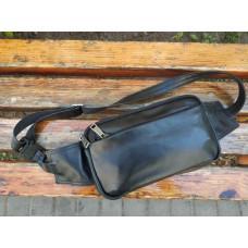 Чёрная кожаная сумка на пояс TARWA GA-0704-3md