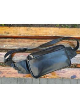 Чорна шкіряна сумка на пояс TARWA GA-0704-3md