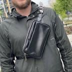 Чёрная кожаная сумка на пояс с двумя отделениями TARWA GA-0741-4lx - Фото № 101