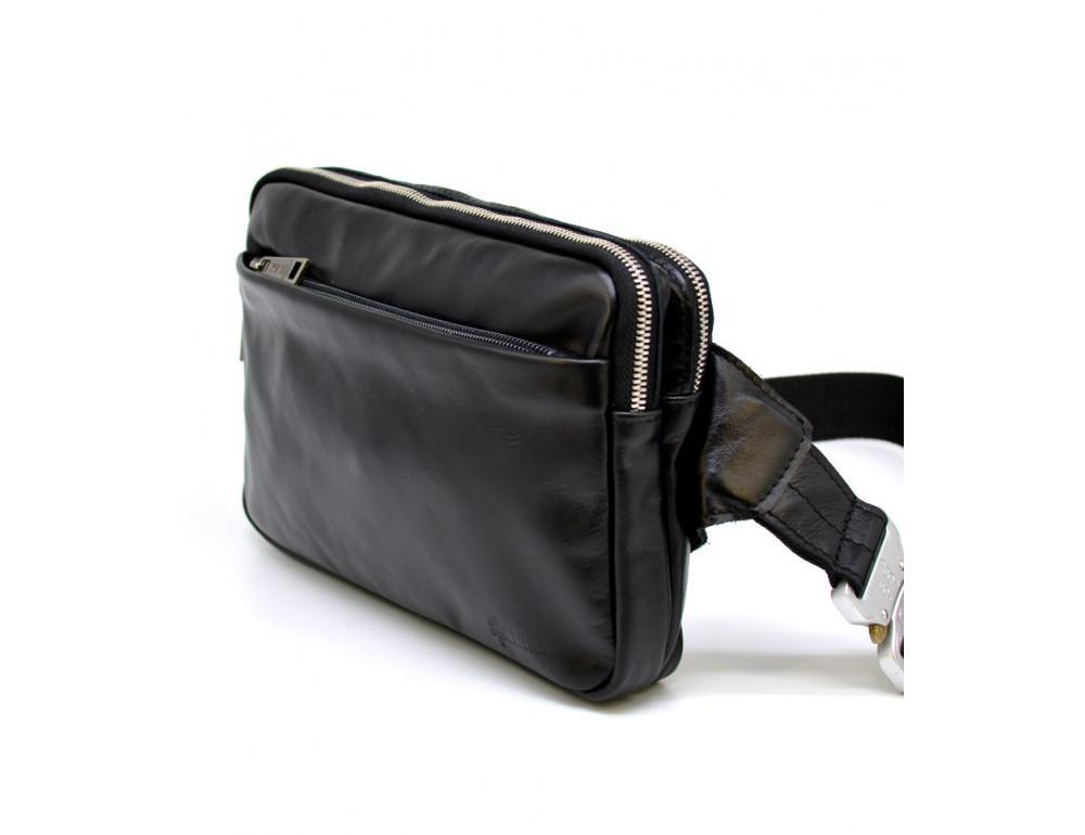 Чёрная кожаная сумка на пояс с двумя отделениями TARWA GA-0741-4lx - Фото № 1