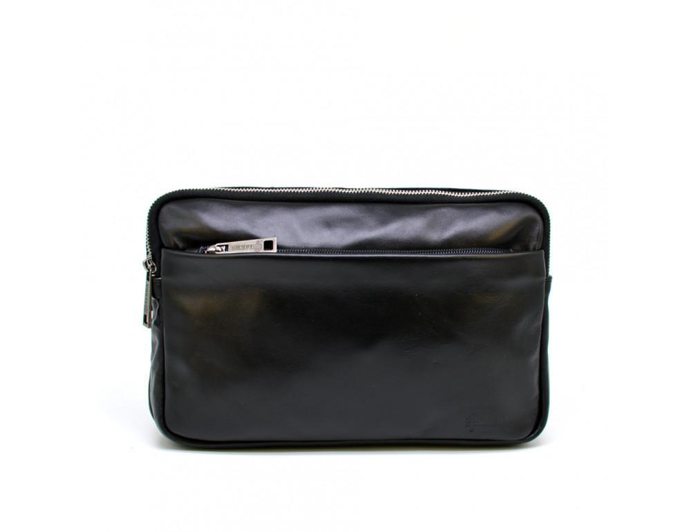 Чёрная кожаная сумка на пояс с двумя отделениями TARWA GA-0741-4lx - Фото № 3