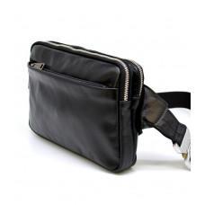 Чёрная кожаная сумка на пояс с двумя отделениями TARWA GA-0741-4lx