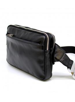 Чорна шкіряна сумка на пояс з двома відділеннями TARWA GA-0741-4lx