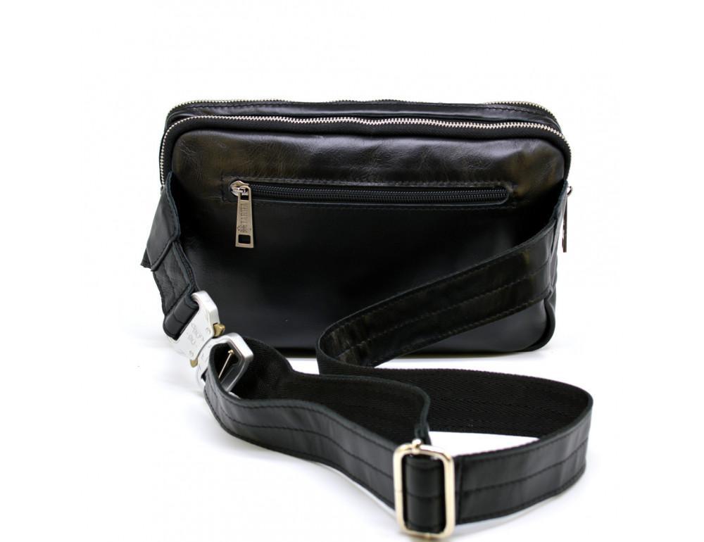 Чёрная кожаная сумка на пояс с двумя отделениями TARWA GA-0741-4lx - Фото № 4