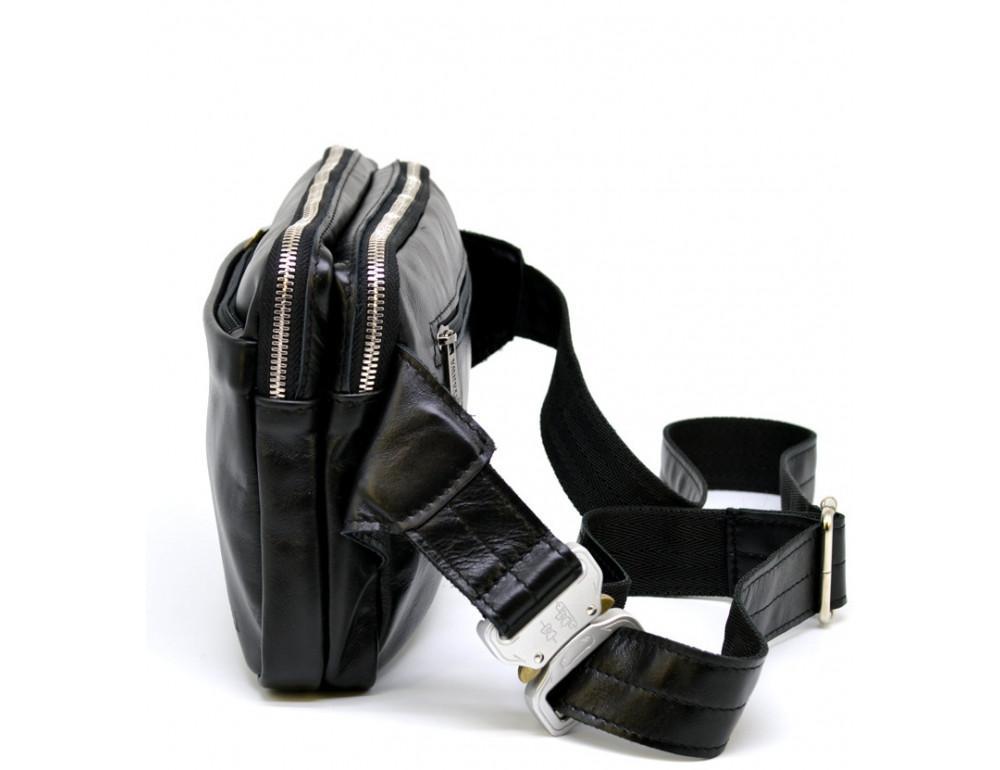 Чёрная кожаная сумка на пояс с двумя отделениями TARWA GA-0741-4lx - Фото № 5