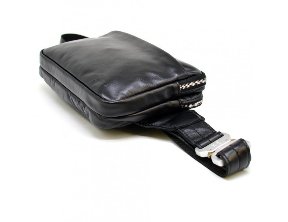 Чёрная кожаная сумка на пояс с двумя отделениями TARWA GA-0741-4lx - Фото № 6