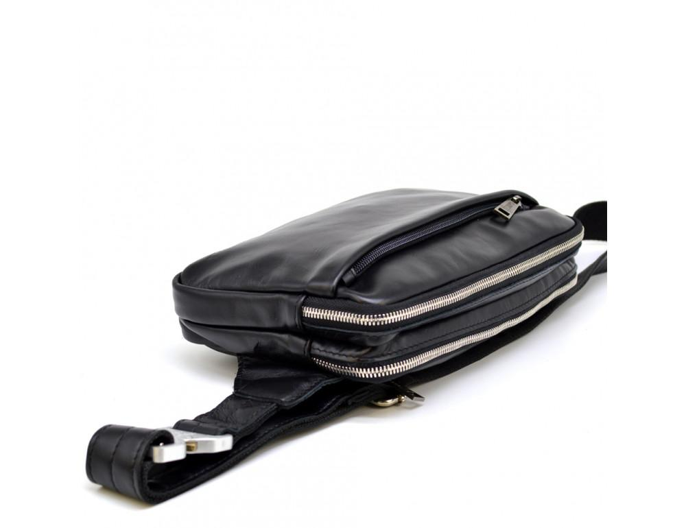 Чёрная кожаная сумка на пояс с двумя отделениями TARWA GA-0741-4lx - Фото № 7