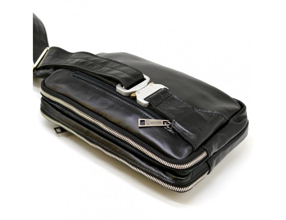 Чёрная кожаная сумка на пояс с двумя отделениями TARWA GA-0741-4lx - Фото № 8