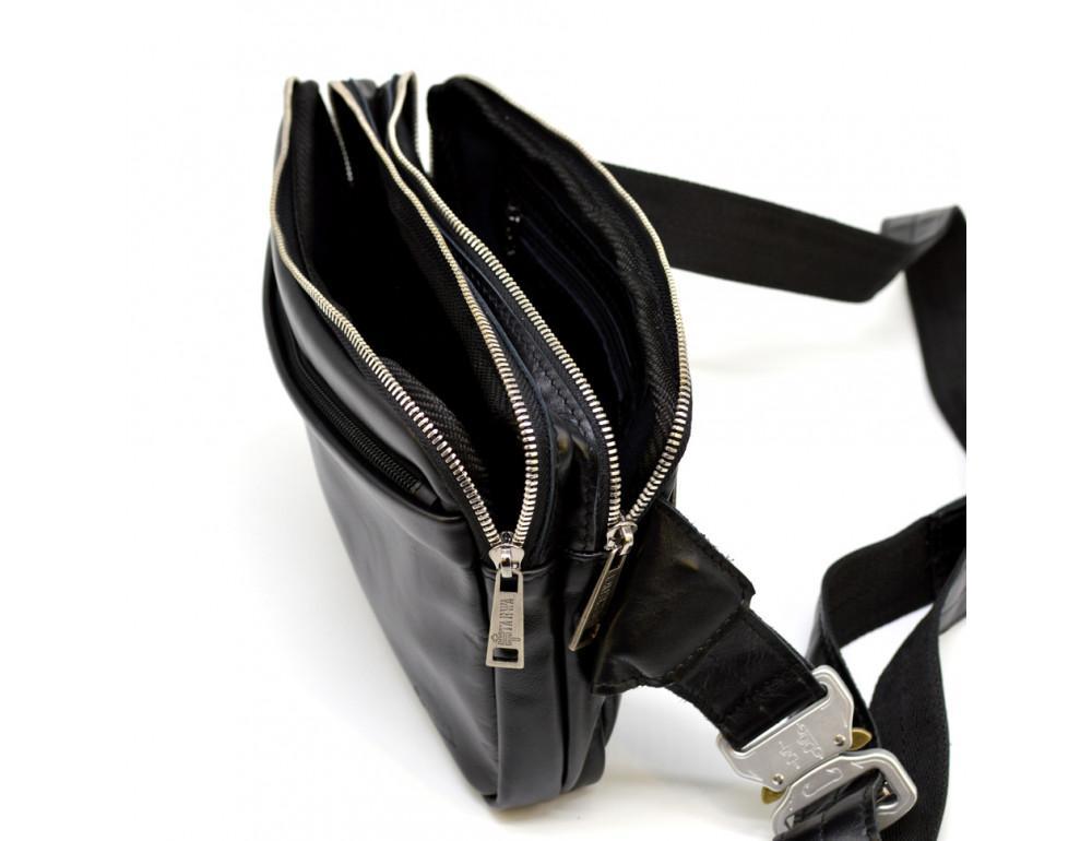 Чёрная кожаная сумка на пояс с двумя отделениями TARWA GA-0741-4lx - Фото № 9