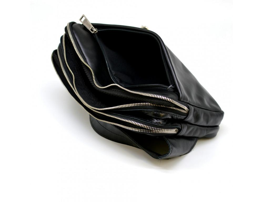 Чёрная кожаная сумка на пояс с двумя отделениями TARWA GA-0741-4lx - Фото № 10
