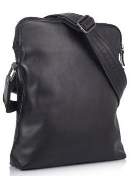 Чёрная кожаная сумка через плечо на два отделения TARWA GA-1048-3md