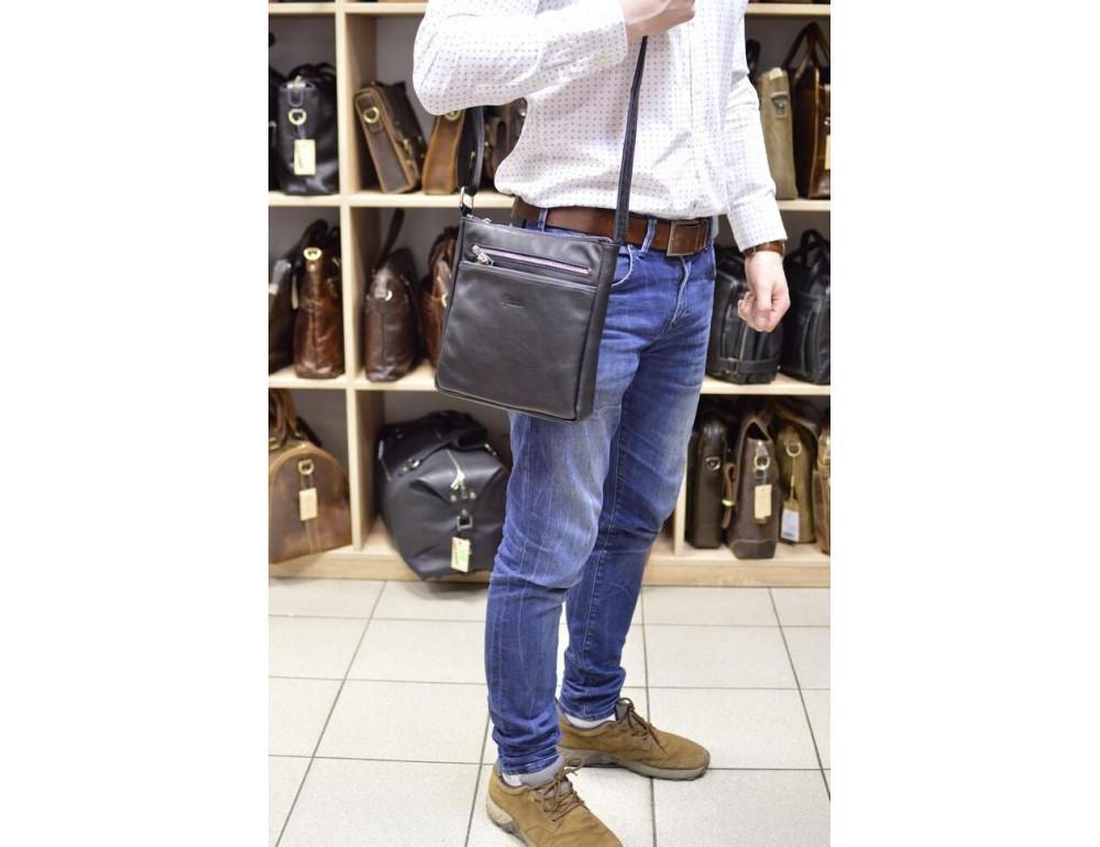 Чёрная кожаная сумка-мессенджер без клапана TARWA GA-1300-4lx - Фото № 2