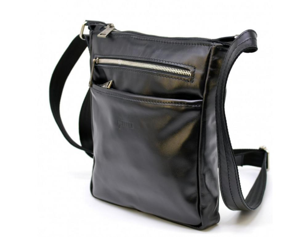 Чёрная кожаная сумка-мессенджер без клапана TARWA GA-1300-4lx - Фото № 1