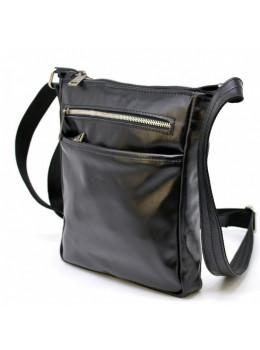 Чёрная кожаная сумка-мессенджер без клапана TARWA GA-1300-4lx