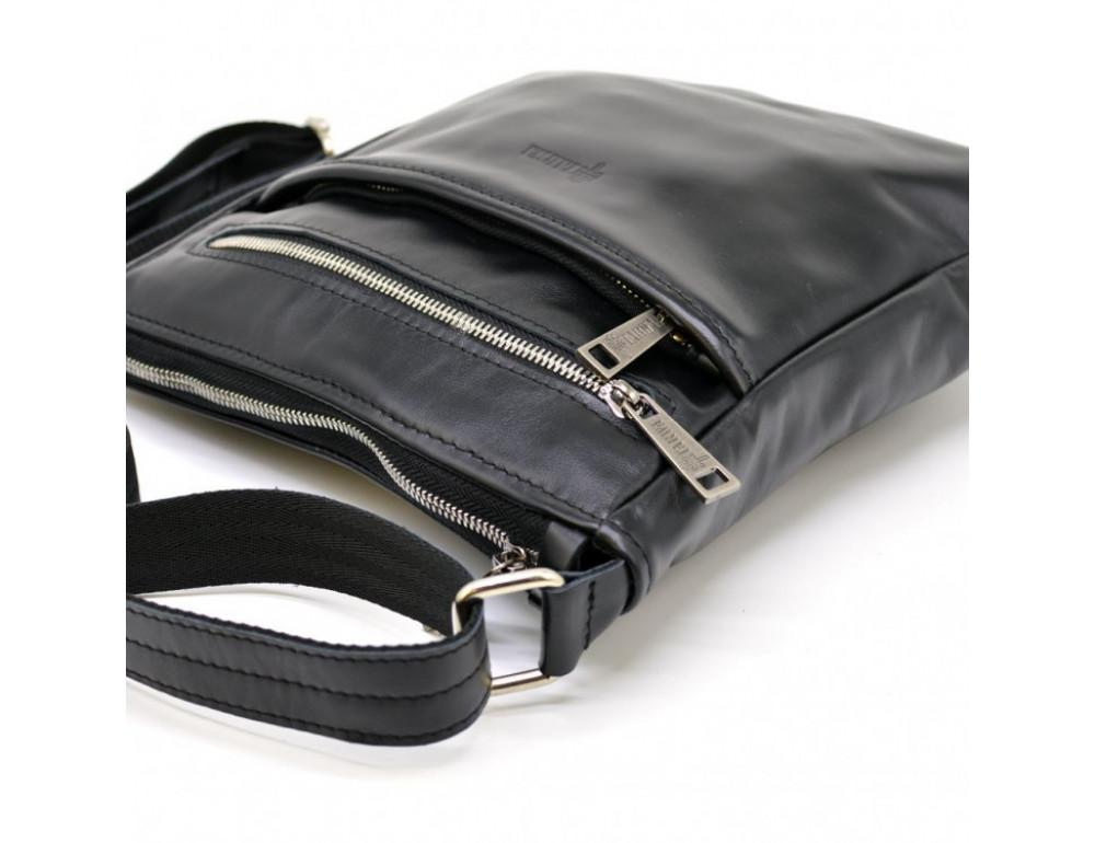 Чёрная кожаная сумка-мессенджер без клапана TARWA GA-1300-4lx - Фото № 3