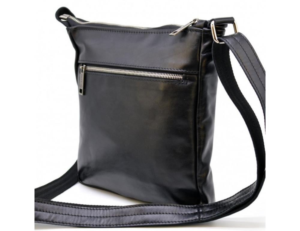 Чёрная кожаная сумка-мессенджер без клапана TARWA GA-1300-4lx - Фото № 4