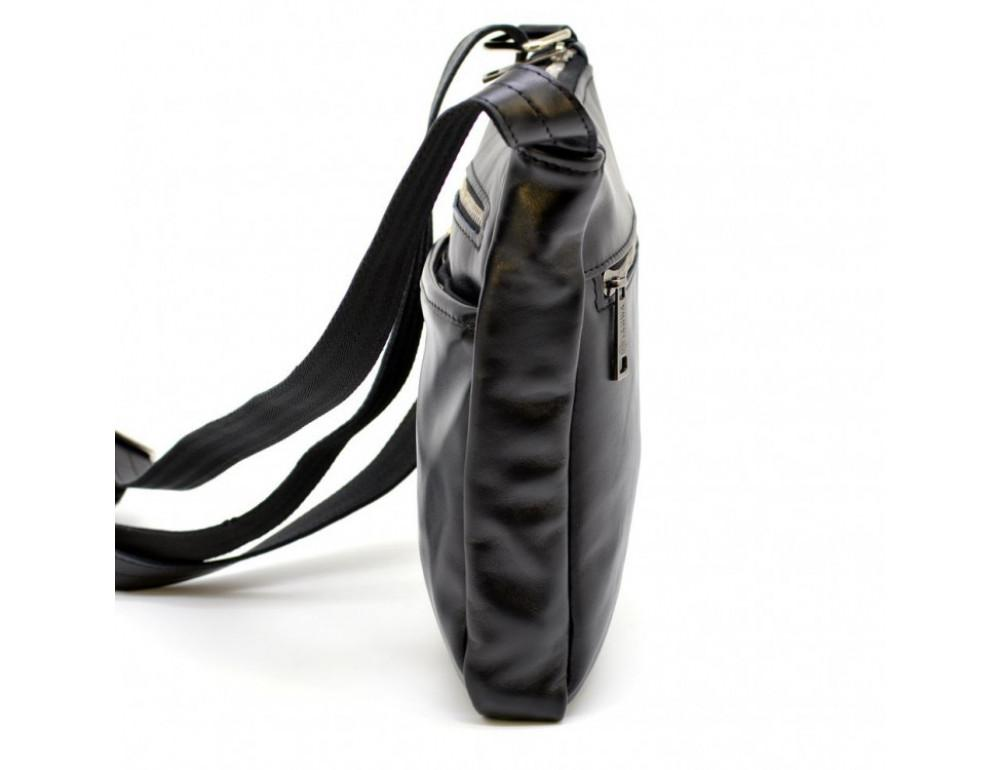 Чёрная кожаная сумка-мессенджер без клапана TARWA GA-1300-4lx - Фото № 5
