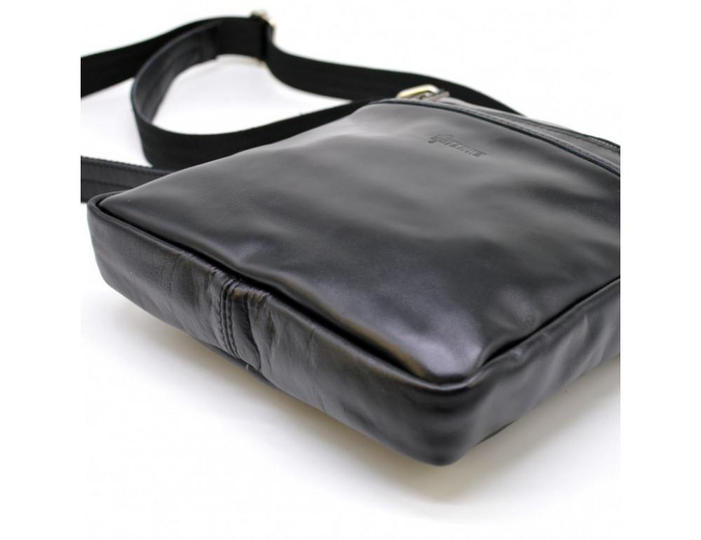 Чёрная кожаная сумка-мессенджер без клапана TARWA GA-1300-4lx - Фото № 6
