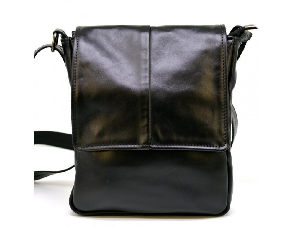 Чёрная кожаная сумка на одно отделение TARWA GA-1301-3md - Фото № 2