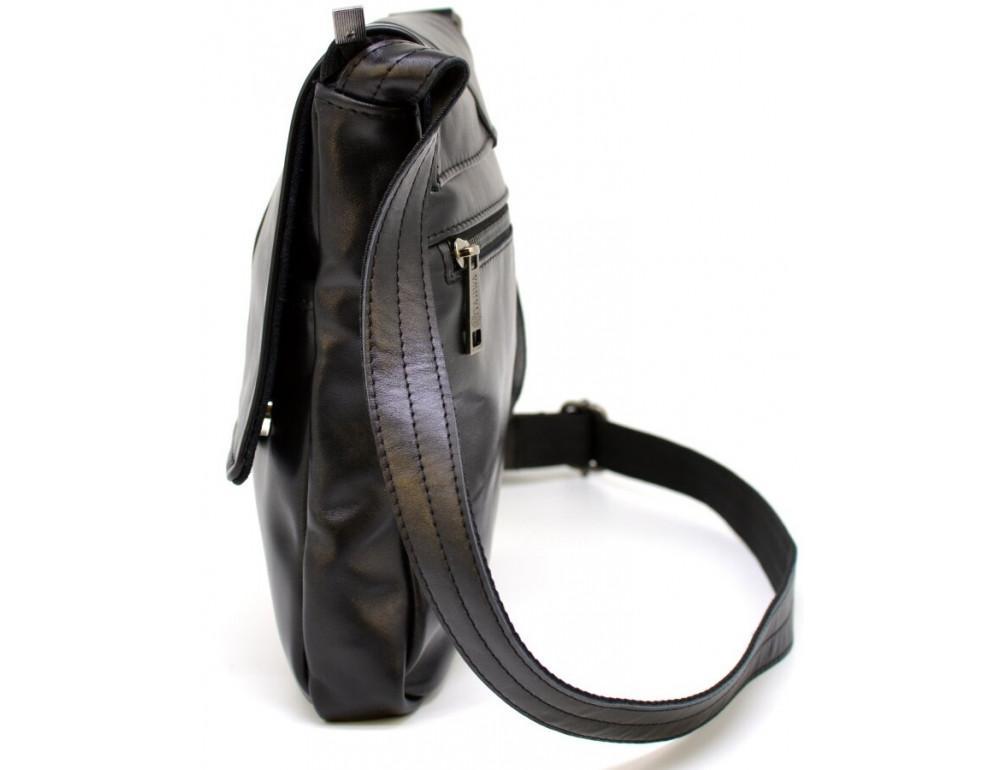 Чёрная кожаная сумка на одно отделение TARWA GA-1301-3md - Фото № 3