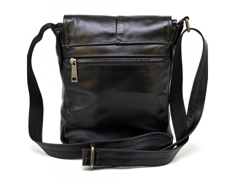 Чёрная кожаная сумка на одно отделение TARWA GA-1301-3md - Фото № 4