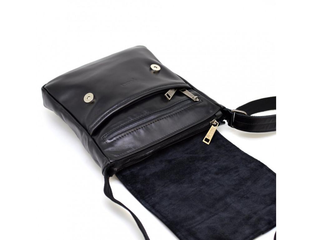 Чёрная кожаная сумка на одно отделение TARWA GA-1301-3md - Фото № 5