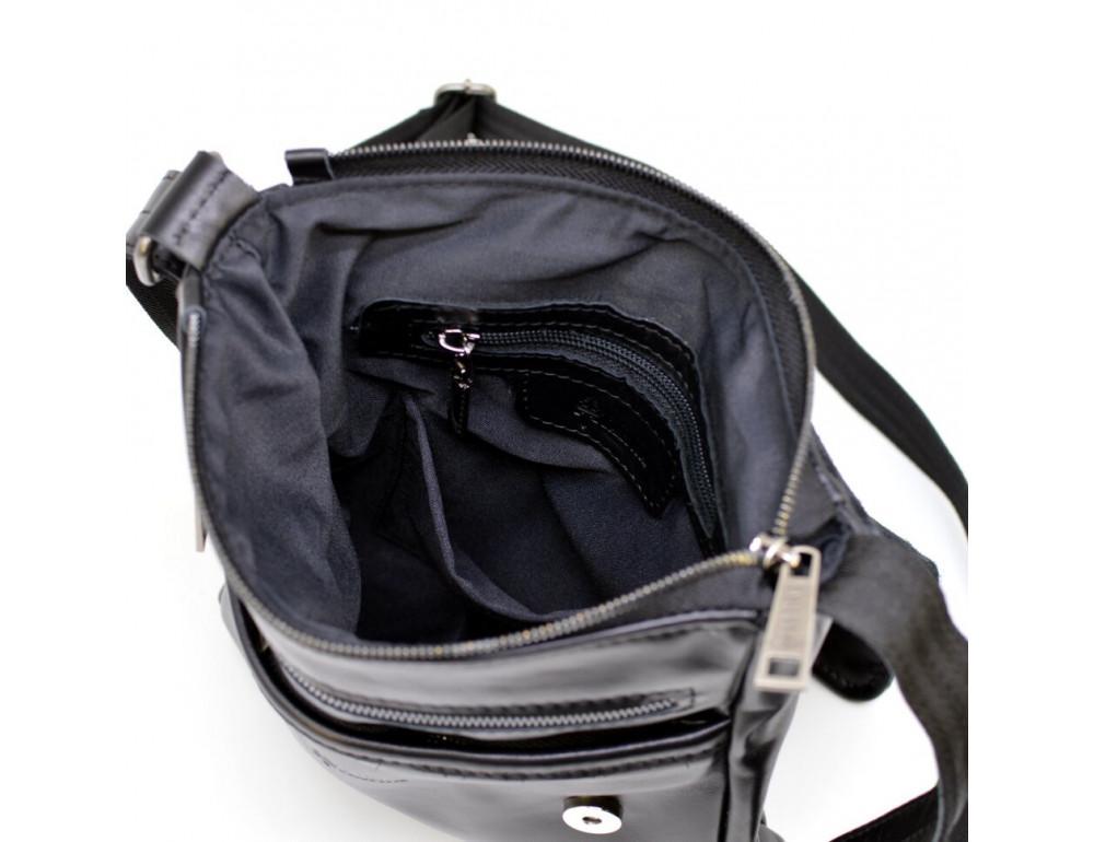 Чёрная кожаная сумка на одно отделение TARWA GA-1301-3md - Фото № 6