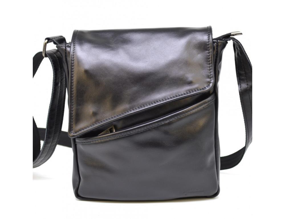 Чёрная кожаная сумка на одно отделение TARWA GA-1302-3md - Фото № 2