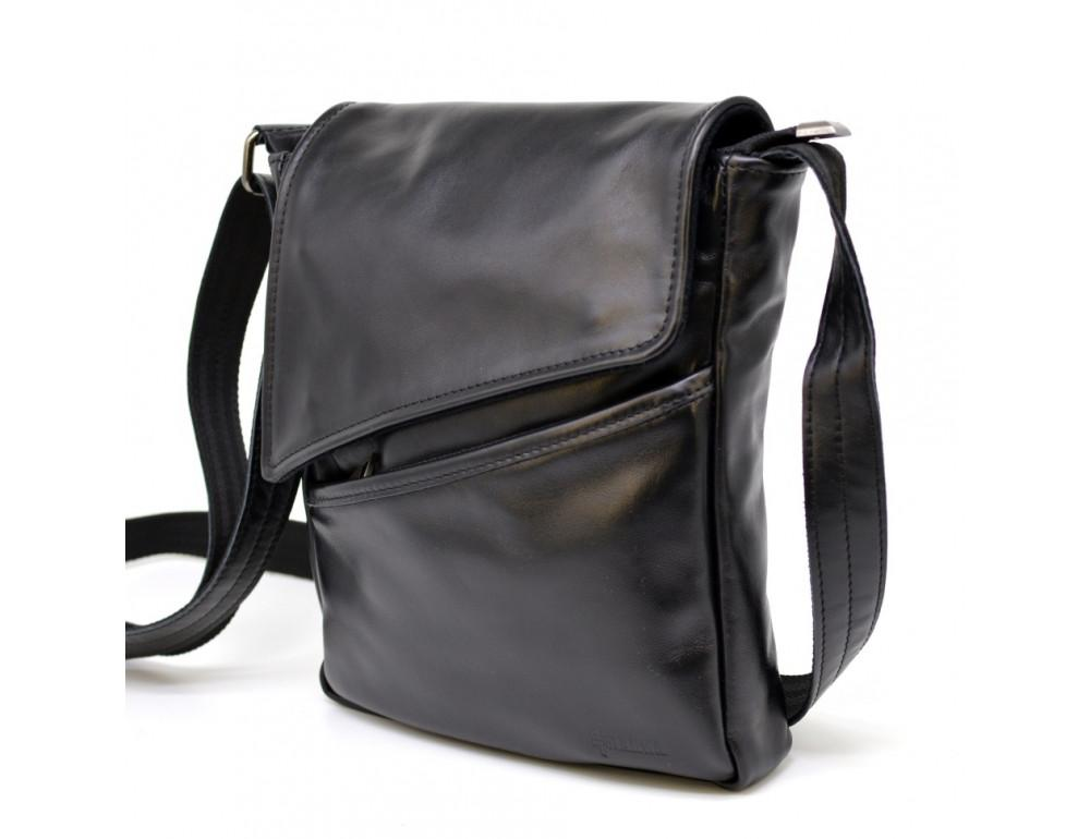 Чорна шкіряна сумка на одне відділення TARWA GA-1302-3md
