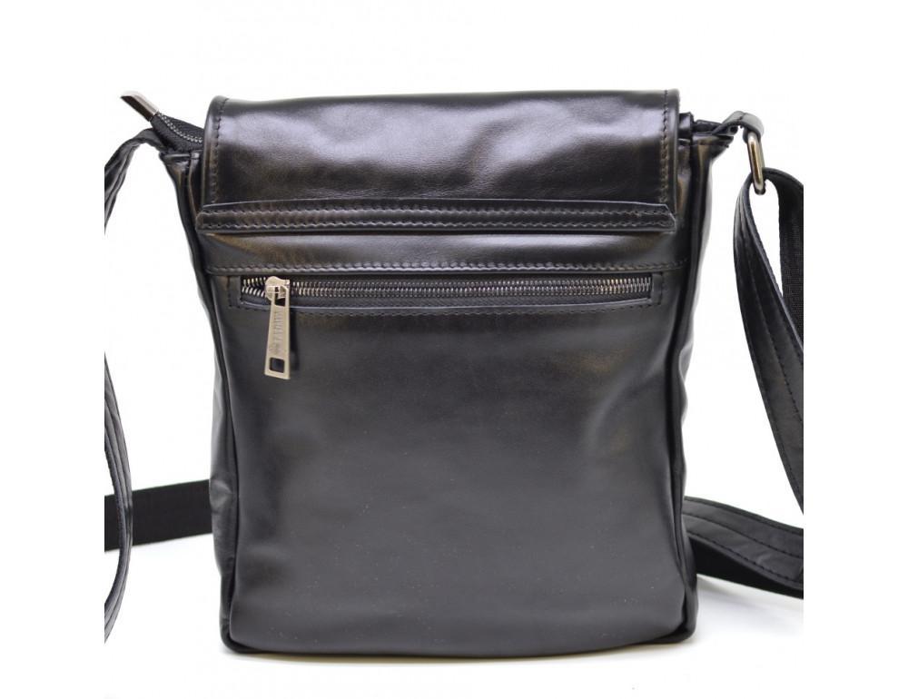 Чёрная кожаная сумка на одно отделение TARWA GA-1302-3md - Фото № 3